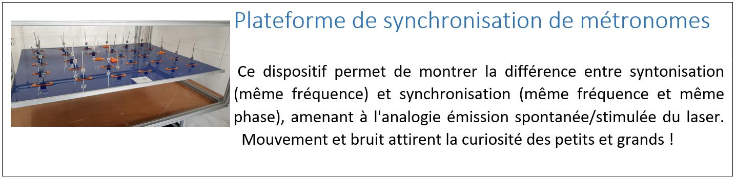Plateforme de synchronisation de métronomes